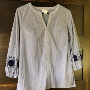 Liz Claiborne stripped top with flower detail